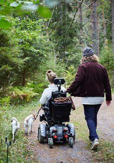 Kvinna som använder rullstol på promenad i skogen med en man och två hundar